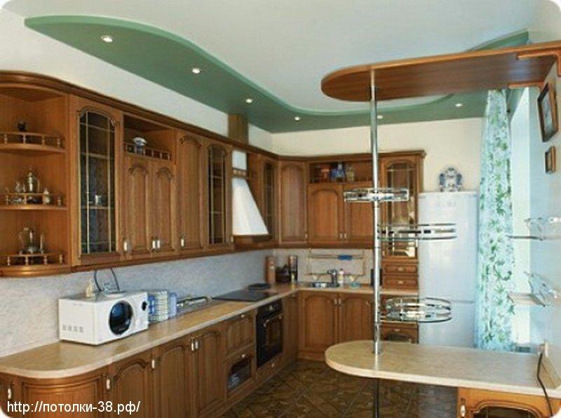 Натяжной потолок в кухню 10