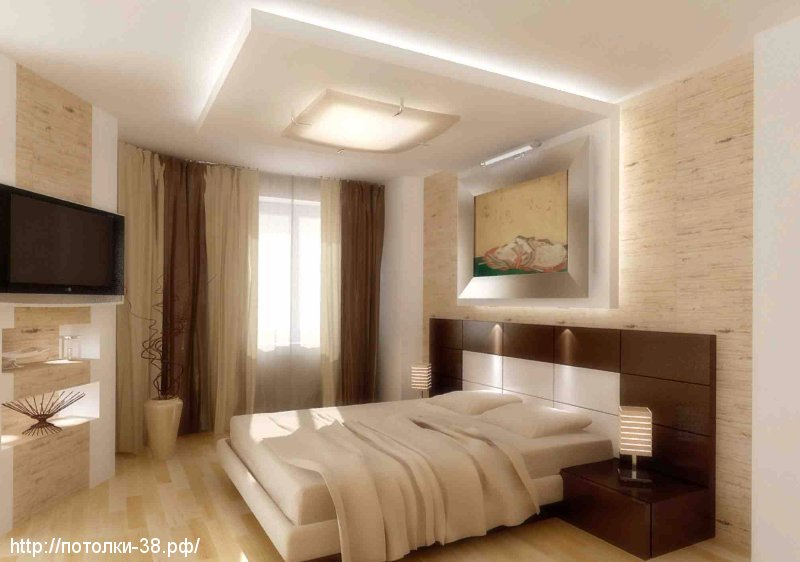 Натяжной потолок в спальне 10
